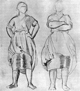 Эскизы и скульптура «Крестьянка» работы Мухиной В.И. (отлив, бронза, 1927г.)