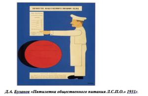 Д.А. Буланов «Пятилетка общественного питания Л.С.П.О.» 1931г.