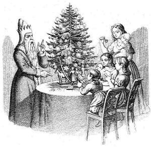 Дети и Санта Клаус у «дерева Клауса» (нем. Klausbaum). Гравюра из немецкой книги «50 басен с картинками для детей».